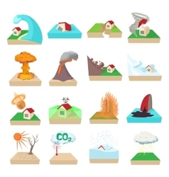 Natural disaster icons set cartoon style vector image vector image