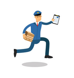 postman in blue uniform with clipboard running vector image