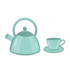 Teapot and cup icon flat style Isolated on vector image vector image