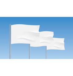 White flags waving on a blue sky background vector