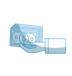 contour hand with bill money vector image vector image