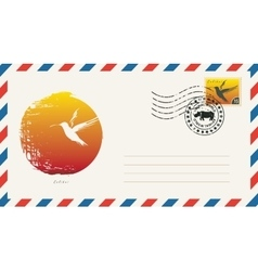 Envelope with drawing hummingbird vector
