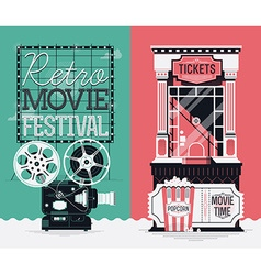 Retro movie banner set vector