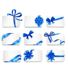 Set of beautiful cards with blue gift bows vector image vector image