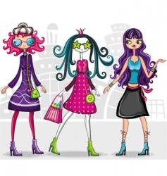urban fashion girls series vector image