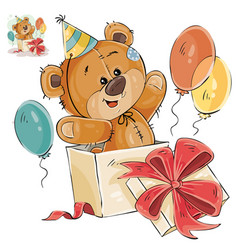 a brown teddy bear peeking vector image