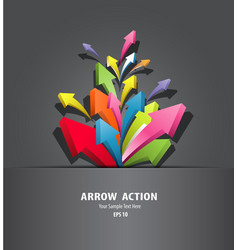 Colorful arrow action in black package vector image vector image
