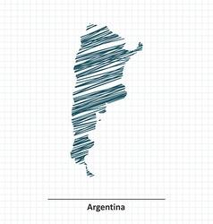 Doodle sketch of argentina map vector