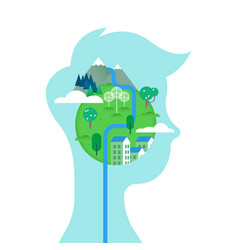 man with green planet in head for environment care vector image vector image