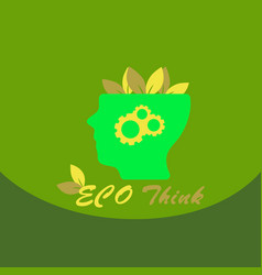 think green ecology concept of human with leaf on vector image