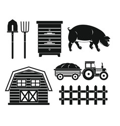 farm black silhouette set isolated on white vector image vector image