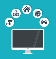 Internet things computer security world game work vector