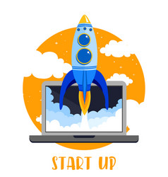 laptop with rocket quick vector image vector image