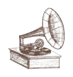 Old Gramophone Hand Draw Sketch vector image vector image
