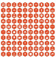 100 different professions icons hexagon orange vector