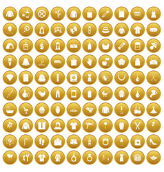 100 woman icons set gold vector