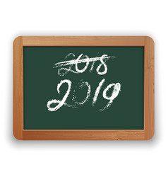 2018 crossed out and 2019 chalk calligraphy on vector