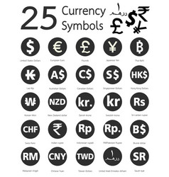 25 currency symbols vector