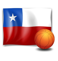 A ball in front of the flag of Chile vector image