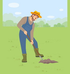 A man dressed as a farmer using a vector