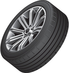 Alloy wheel with low profile tire vector image