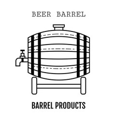 beer wooden barrel with a tap linear black and vector image