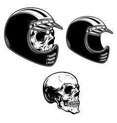 Biker skull in racer helmet in engraving style vector