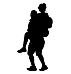 boy carries girl on back couple in love silhouette vector image