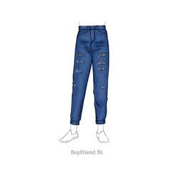 boyfriend fit jeans female denim pants vector image