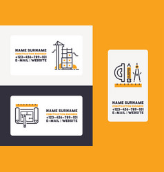 Builder business card building construction vector