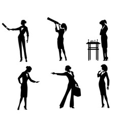 business lady silhouettes in action vector image