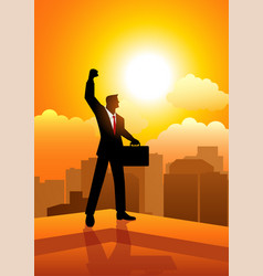 businessman standing on the edge of a building vector image