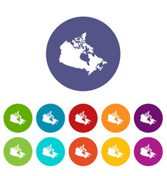 canada map icons set flat vector image