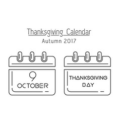 canadian thanksgiving calendar 2017 vector image