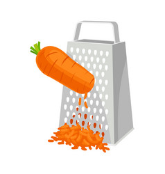 Carrots rubbed on a grater on vector