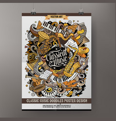 Cartoon hand drawn doodles classic music poster vector