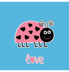 Cartoon pink lady bug with dots in shape of heart vector image