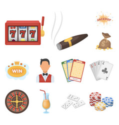 casino and gambling cartoon icons in set vector image