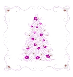 Christmas tree decorated with flowers vector