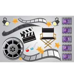 Collection of cinema or movie items vector