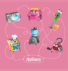 comic house appliances banner in cartoon style vector image