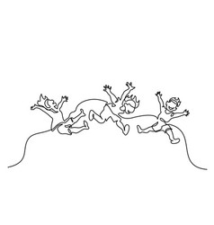 continuous one line drawing happy children jump vector image