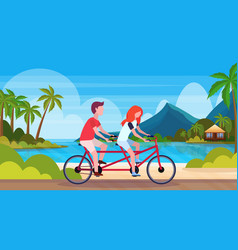 couple in love riding tandem bicycle summer vector image