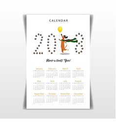 Creative calendar 2018 with cute cartoon skating vector
