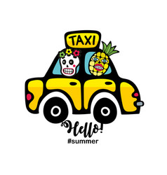 Creative summer print with yellow taxi car and vector