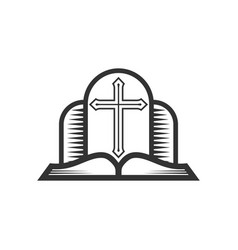 Cross lord jesus christ and open bible vector