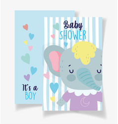 cute elephant its a boy bashower card vector image