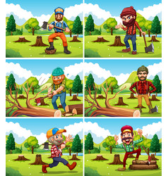 different deforestation scene with lumberjacks vector image