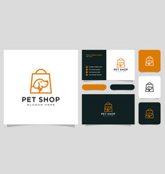 Dog shop logo design and business card vector