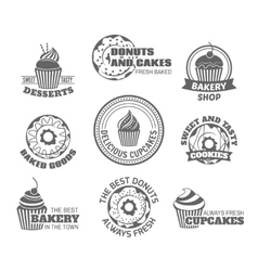 Donut cupcake label vector